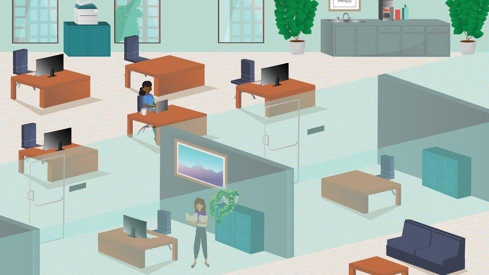 Espacio de oficina dividido